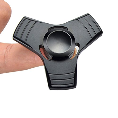 XiaoXiMi Tri Fidget Finger Spinner 100% Metal Alloy Spinner EDC Hand Spinner Fast Spinning 3-Finger Toy with High Speed Stainless Steel Bearing Rotating 1-3 minute Stress Reliever Reducing Anxiety ADD ADHD Killing Time for Adults&Children - Color: Black -