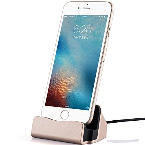 TUOUA iPhone Dock con Cavo Lightning Caricatore Stazione di Ricarica per iPhone 7/7PLUS/6S / 6S più / iPhone SE / 5S / 5C / 4 iPad mini (Oro)