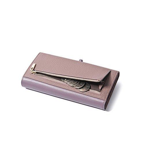 Yvonnelee Delle donne del cuoio genuino portafogli borsa esclusiva Long Bifold cassa Grigio