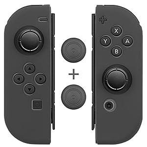 Fosmon Kompatibel mit Nintendo Switch Joy-Con Controller Hülle Daumen-Griff-Kappen Schutz Gel [Anti-Rutsch|Silikon][L/R Daumenstock Case Cover](1 Paar/4 Stück) – Grau
