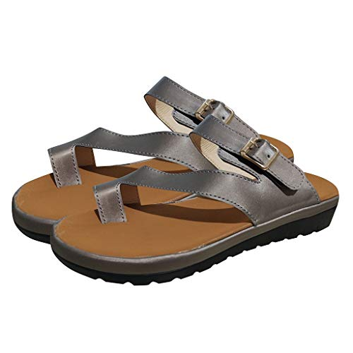 COZOCO Frauen Rom dick unten Sandale Schuhe Gürtel Schnalle Sandalen Clip Toe Sommer Strandschuhe(Grau,35 EU)