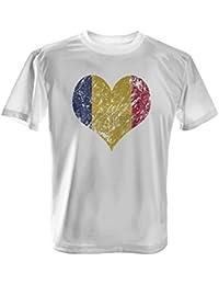 Fashionalarm Herren T-Shirt - I Love Romania | Fun Shirt Trikot mit Vintage Flagge Print für Fußball & Rumänien Fans | Karpaten Urlaub | EM & WM