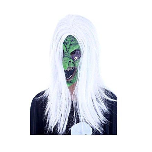 ParttYMask Maskerade,Halloween Ganze Person Requisiten-Make-up Tanz Maske Horror weißes Haar Hexenmaske weißes Haar Hexe ()