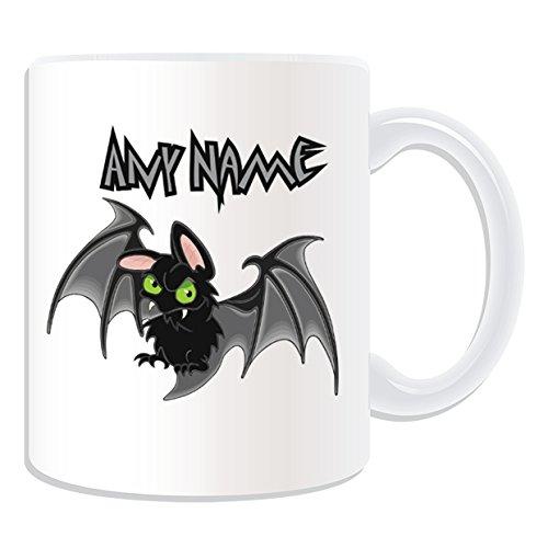 Personalisiertes Geschenk–Tasse, Fledermaus Vampir (Scary, Design Design, Weiß, jeder Name/Nachricht auf der (E Scary Halloween Mails)