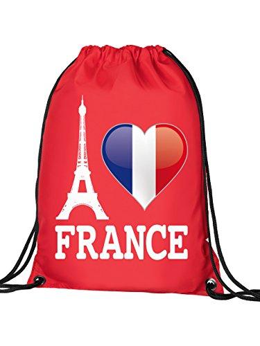 I Love France 4458 Turnbeutel (Rot)