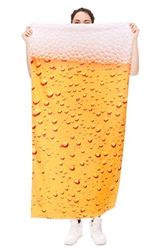 Ferocity Lustige Muster Mikrofaser Frottee Badetuch Strandtuch 70x140 cm Gelb Bier Beer [026]