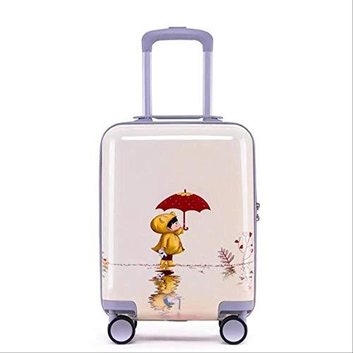 Valigia Per Bambini DXWF 18inch Cartone Animato Trolley Valigia Per Bambini Rolling Bagagli Spinner Bambini Travel Bag Su Ruote 35,22,3, 49 cm Come mostrato