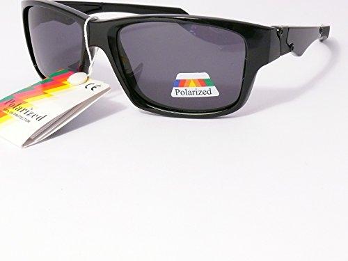 lunettes de soleil polarisantes polarisées verres polarisés homme femme 201249 (monture noir brillant verres gris , largeur:145mm hauteur:45mm)