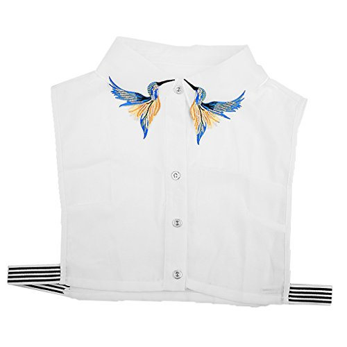 Prettyia Damen Abnehmbare Kragen Krawatte Hälfte Shirt Bluse Spitze/Druck/Denim/Chiffon/Schwarz/Weiß - Vogel, Halbes Hemd (Vogel Krawatte)