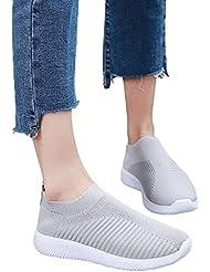 Alaso - Zapatillas de running para mujer, deportivas, transpirables, de malla, calcetines de running, para mujer, deportivas, para correr, entrenadores, color negro y gris