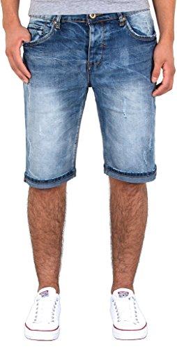 by-tex Herren Shorts kurze Hose Jeans Bermuda Shorts Used Look kurze Sommer Hose A406 (Jean Shorts Denim Bermuda)