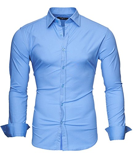 KAYHAN Homme Chemise Slim Fit Repassage facile, Manches Longues Modell - UNI Color Light Blue