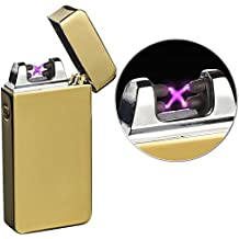 PEARL Outdoor Lighter: USB Rechargeable Electronic Lighter Lighter Golden (with Double Candle Holder and Battery)