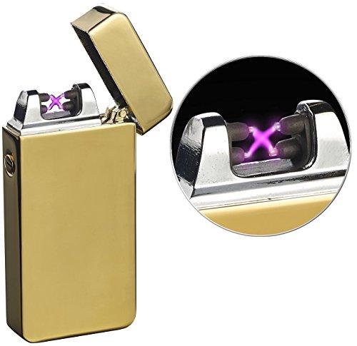 PEARL Lichtbogenfeuerzeug: Elektronisches USB-Feuerzeug mit doppeltem Lichtbogen und Akku, golden (Doppel-Lichtbogen-Feuerzeug)