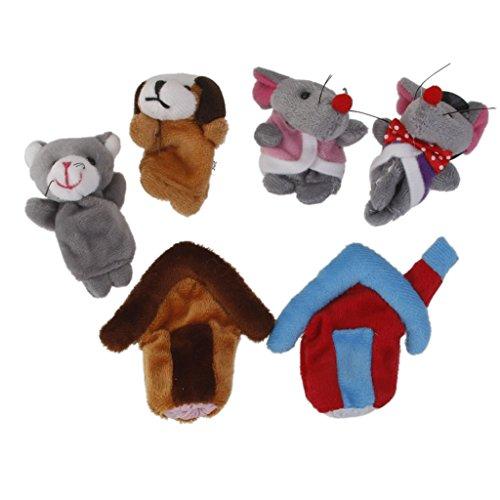 6pcs Conjunto Marionetas Dedo Juego Niños Peluche
