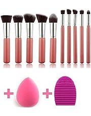 KYLIE Makeup Brushes Set Premium Synthetic Kabuki Foundation Face Powder Blush Eye shadow Brush Makeup Brush Kit with Blender Sponge and Brush Cleaner (10pcs,Pink/Silver)
