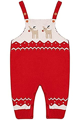 Vêtements de Noël de Noël Tricot Tricot Bodysuits Infant Kids Deer Shoulder Strap Cotton Lovely Jumpsuits Costume Outfits Minzhi