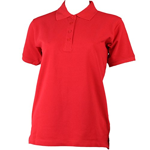 Damen Polo-Shirt kurzarm mit Knopfleiste in 9 Farben BLUE RAVEN Rot
