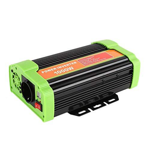 MVPOWER Inversor de Corriente, 12V 220V 1000W, Convertidor para Coche con 2 Puertos USB 5V/2.1A, Transformadores de Corriente de Viaje, Material de Aluminio