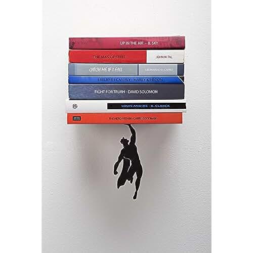 dia del orgullo friki Supershelf - Estante flotante para libros con figura de superheroe masculino en metal negro - regalo navideño para geeks