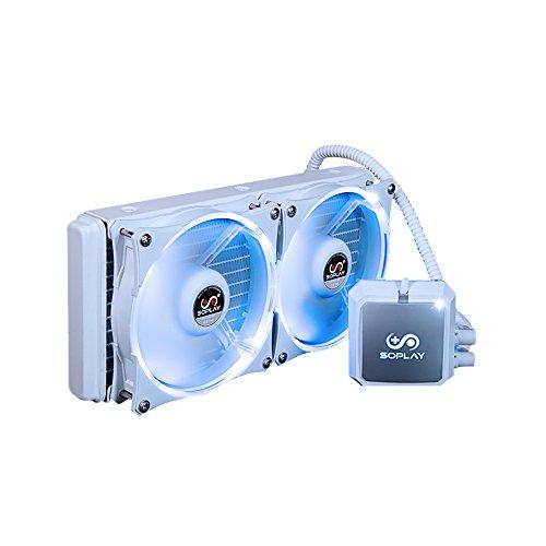 Preisvergleich Produktbild KKmoon SOPLAY CPU Kühler Flüssigkeit Gefrierschrank Wasser Flüssigkeitskühlung System Hydraulische Lager 120mm Dual Einstellbare PWM Fan LED-Licht