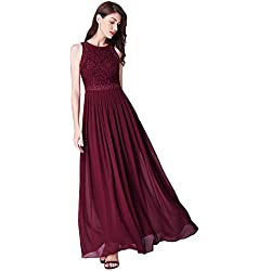Ever-Pretty Vestido de Fiesta Noche Largo para Mujer Vestido de Fiesta Boda Ceremonia Borgoña 46