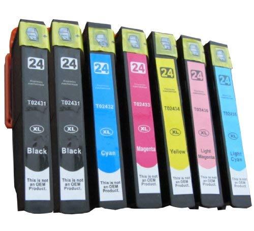 ESMOnline 7 komp. XL Druckerpatronen (6 Farben) für Epson Expression Photo XP 960 950 860 850 760 760 55 (T24xx)