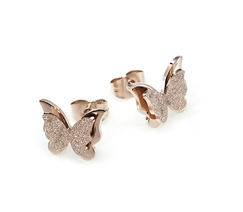 Yutii Diwali Gifts Charming Dual Butterfly Surgical Steel Rose Gold Stud Earrings for Women