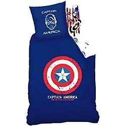Sahinler Funda Nórdica de 140x 200cm + 1Funda de Almohada–Captain America–100% Algodón