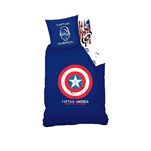Sahinler Captain America Bettbezug 140 x 200 cm + 1 Kopfkissenbezug, 100{9b36473a8f25061ccd19fedf09fbeed696741029dd7ffb5d697b3c0c60a46578} Baumwolle