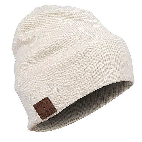 Urcover® Bluetooth Beanie Mütze mit Stereo Lautsprechern, Unisex Musik Strick-Mütze Cream [ integrierter Akku (5h Laufzeit) & Freisprech-Funktion ]