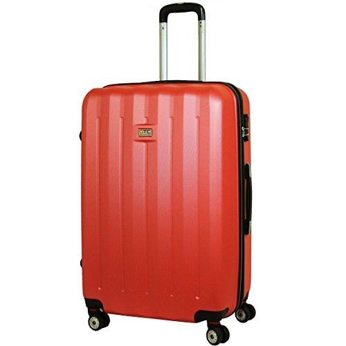 Exkl. Hartschalen Reisekoffer XXL Reise Koffer Trolley Hartschale Cabine Hard sided Case Travelcase Travel luggage suitcase (XXL, Baunrot)