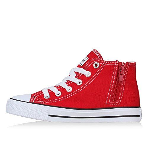 Kinder Sneakers High Top Sportlich Schnürer Trend Schuhe Rot