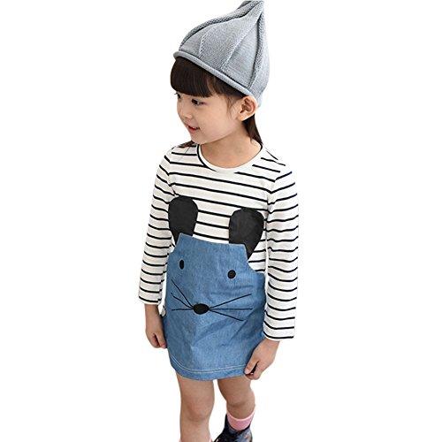 Mädchen Kleid knielangen kleinen Maus Print gestreiften Kleider von Wongfon (Pjs Kleinkind)