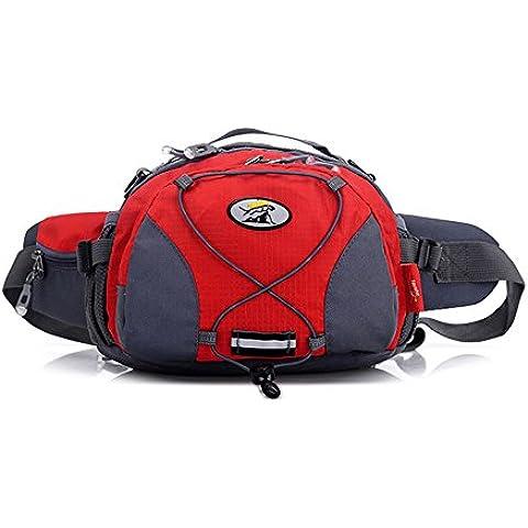 wewod unità multifunzione borsa a tracolla grande borsa Tourist impermeabile borsa da cintura, Rote, 27*20*16 cm