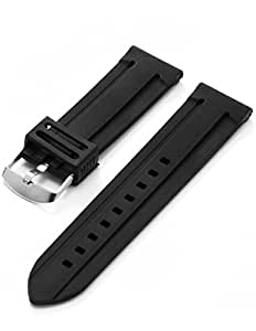 AMPM24 24mm Military Mens Black Silicone Rubber Replacement Watch Band Straps WB2407