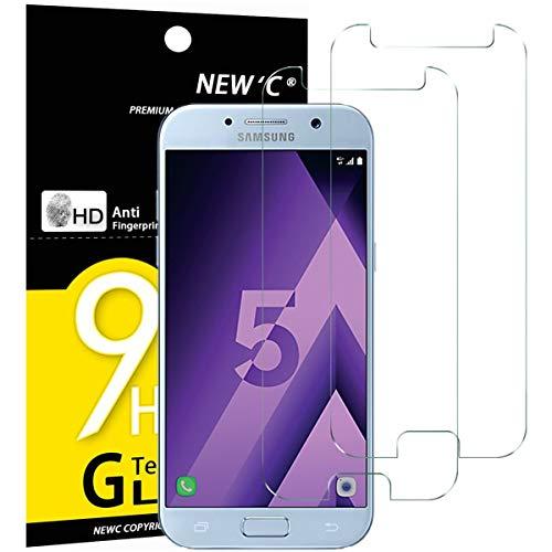 NEW'C PanzerglasFolie Schutzfolie für Samsung Galaxy A5 2017, [2 Stück] Frei von Kratzern Fingabdrücken & Öl, 9H Härte, HD Bildschirmschutzfolie,BildschirmschutzfolieSamsung A5 2017