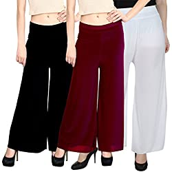 Rooliums Women'S Pack Of 3 Palazzo (Hrpalazzo3Bmw_Black, Maroon And White_Free Size)