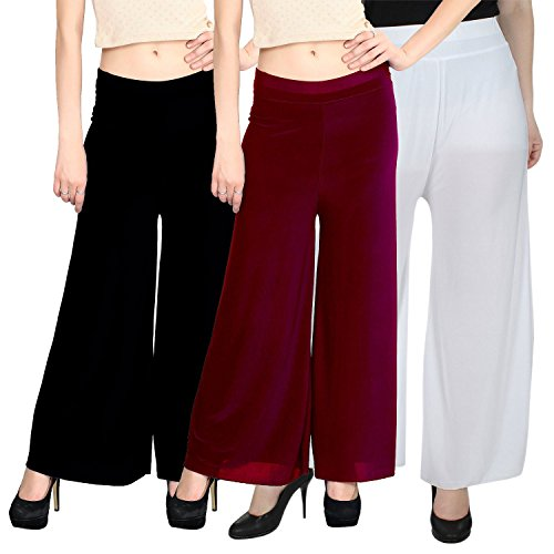Women\'s Trendy and Stylish Light Weight Palazzo (Pack of 3) (Black, Maroon and White, Free Size)