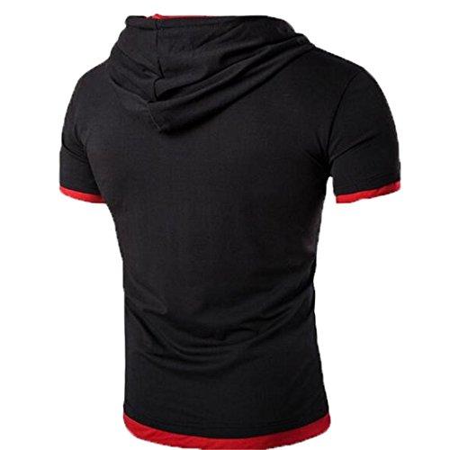 OverDose Herren Sommer Hooded T-Shirt mit Kapuze Kragen Tops Riemen Entwurfs Shirt Kurzschluss Hülsen dünne Basic Oberteil Fitness Bluse B