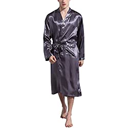 Dolamen Herren Morgenmantel Bademäntel Kimono, Weich u. Leicht glatte Luxus Satin Nachtwäsche Bademantel Robe Negligee locker Schlafanzug mit Belt & Pockets (XX-Large, Grau)