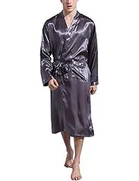 Dolamen Albornoz para Hombre Vestido Batas y kimonos Satén, Suave y ligero Satén Camisón, Lujo Robe Albornoz Ropa de dormir Pijama con Cinturón y bolsillos