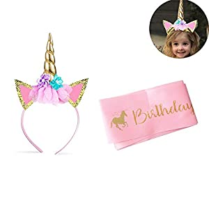 Unicornio Cumpleaños Accesorios,Diadema Unicornio y