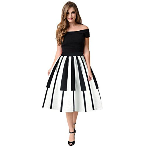 tticoat Kleid Rock Damen Rockabilly Kleid Frau Klaviertasten Bedruckter Rock Hohe Taille, dünner Rock Fancy Muster Rock (XL) (Xl Fancy Kleid)