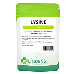 41CWjYEO8bL. SS300  - Lindens Lysine 1000mg 2-PACK 100 tablets (L-Lysine Hydrochloride) Supplement