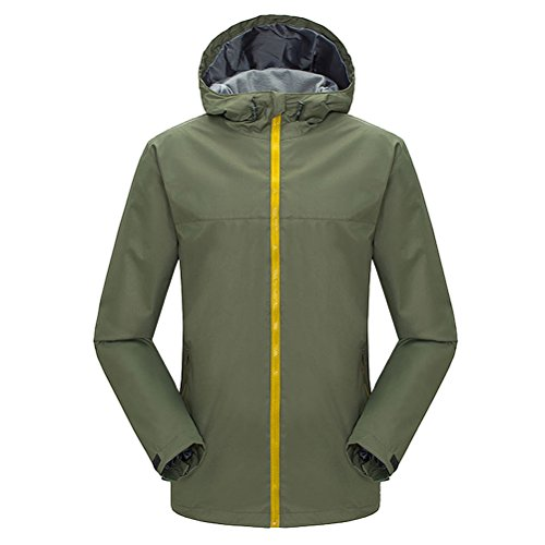 Zhhlinyuan vêtement de sport Men's Hooded Softshell Jacket Breathable Lightweight Mountain Bike Jacket green