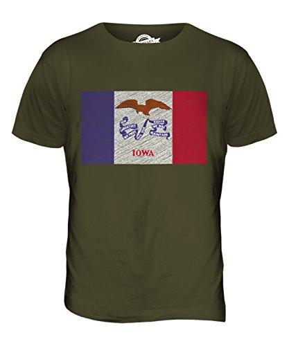 CandyMix Bundesstaat Iowa Kritzelte Flagge Herren T Shirt Khaki Grün
