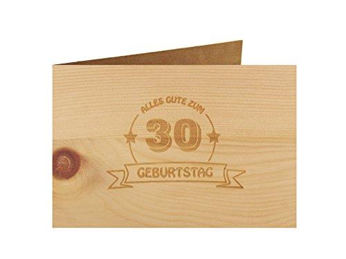 Holzgrußkarte - Geburtstagskarte - 100% handmade in Österreich - Postkarte Glückwunschkarte Geschenkkarte Grußkarte Klappkarte Karte Einladung, Motiv:ALLES GUTE 30 GEBURTSTAG