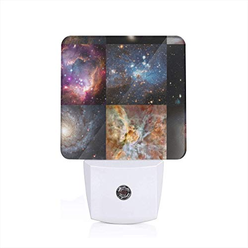 Led Night Light Galaxy Quilt Blocks (8 Inch Squares) Patchwork Cheater Quilt Auto Senor Dusk to Dawn Night Light Plug in for Baby, Kids, Children's Room -