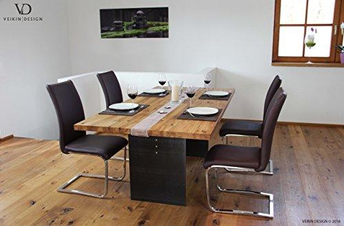 """Esstisch """"Manhattan"""" Kernbuche massiv 160 x 90 cm, Designer Tisch Massivholz mit Rohstahl Tischgestell, Holztisch Metall Stahl, Premium Esstisch, Design Esstisch Exklusiv!"""